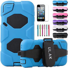 For iPod Touch 5th Gen High Impact Armor Kickstand Hard Soft Rubber Hybrid Case