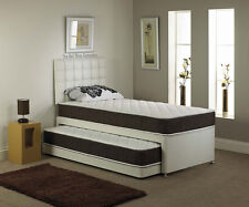 New! 3FT Guest Bed Divan Mattress + Headboard Leather Base 6 Different Colours!