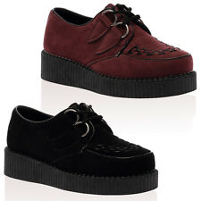 New Ladies Lace Up Chunky Sole Womens Creepers Punk Ankle Boots Shoes Size 3-8