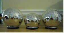 3 In/Outdoor Hanging Mercury Glass Spheres/Globes W/timer by Valerie QVC SILVER