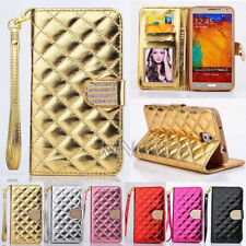 Premium PU Leather Handbag Wallet Case + Bling Diamond For Samsung Galaxy S Note