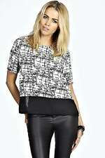 Boohoo Womens Rosie Grid Print Sheer Panel Woven Shell Top in White