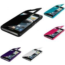 For LG Optimus F6 Magnetic Wallet Pouch Cover Hard Flip Case With Window