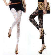 New Sexy Women Lady Rose Lace Through Leggings Pants Footless Black White