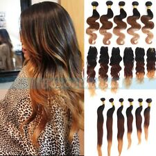 Brazilian Ombre Remy Natrual Wave Straight Auburn Brown Human Hair Extensions