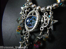 Silver plated necklace rainbow glass PENTACLE moon star bijoux boho wicca goth