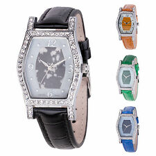 CROTON Genuine Stone Dial and Crystal Watch w/ Genuine Leather Strap