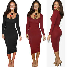 Womens U neck Career Midi Bodycon Pencil Evening Cocktail Dress Size 4 6 8 10 12