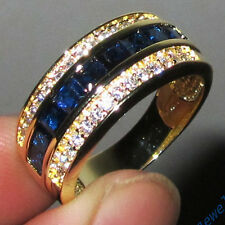 Classic Jewelry Mens Sapphire 10KT Yellow Gold Filled Band Ring Size 8-12 GIFT