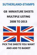 2008 - 2013 MINT MINIATURE SHEETS - MULTIPLE LISTING - ALSO YEAR SET MINI SHEETS