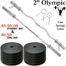 Olympic Barbell Bar Rubber Weights Plates Set Powerlifting Weightlifting Fitness