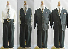 LTO Boy Dark olive pinstripe/ivory wedding recital pageant party formal suit