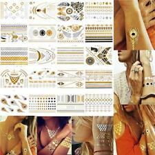 Gold Silver Black Metallic Temporary Tattoo Flash Tattoos Inspired Jewelry Fancy