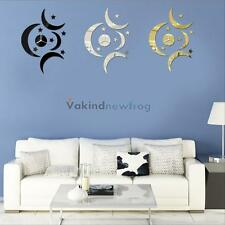 V1NF DIY Moon Star Decal Modern Interior Decoration 3D Mirror Surface Wall Clock