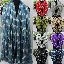 Fashion Women's Reindeer Print Long Scarf/Infinity 2-Loop Cowl Circle Scarf New