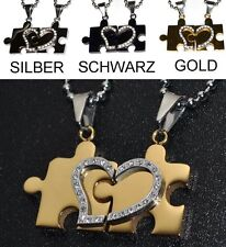 Partner Necklace Jigsaw Puzzle Heart Stainless Steel Rhinestone 2 Pendant Love