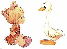 "4.5-7.5"" PRECIOUS MOMENTS GIRL DUCK SET WALL SAFE STICKER  BORDER CUT OUT"