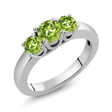 1.10 Ct Round Green Peridot 925 Sterling Silver Ring