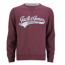 Jack and Jones Access Crew EXP 13 Track & Field Red Crew Neck Jumper Burgundy