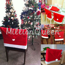 Santa Claus Red Hat Chair Cover Christmas Kitchen Dinner Seat Back Decora Gifts