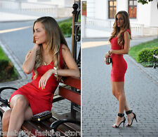 French Connection Red Spotlight Ribbon Knits Bandage Bodycon Xmas Party Dress 6