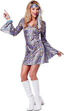 Shimmery 70's Disco Dance Babe Groovy Halloween Costume Outfit Adult Women
