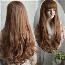 Women's Fashion Hair Long Ladies Wavy Curly Cosplay Party Full Hair Wigs Brown
