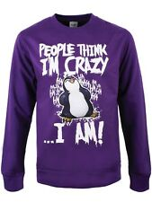 Psycho Penguin People Think I'm Crazy Men's Purple Sweater