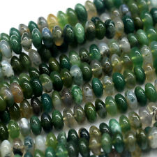 Wholesale Natural Genuine Green Moss Agate Rondelle Stone Jewelry Loose Beads