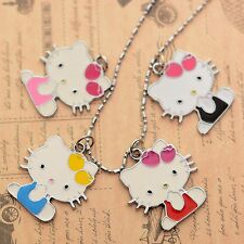 Valentine's Gift Hello Kitty Cat Enameled Jewelry Gilrs 3CM Pendant Necklace