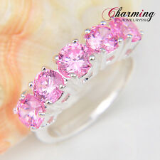 Gorgeous Unique Sweet Pink Toapz Honey Morganite Gems Silver Ring US Size 7 8 9