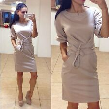 New Winter Fashion O-neck Office Dress Plus Size Color Ladies Casual Dresse