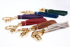 LEATHER HANDMADE TASSEL KEY RING BAG CHARM - VARIOUS COLOURS