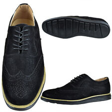 Mens Casual Perforated Derby Wingtip Shoes Lace Up Oxford Brogues Black