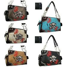 Skull & Roses Concealed Handgun Weapon Gun Carry Purse Bag