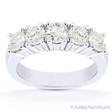 Round Cut Moissanite 5-Stone Anniversary Ring 14k White Gold 4Prong Wedding Band