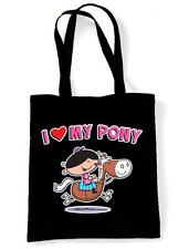 I LOVE MY PONY SHOULDER  SHOPPING BAG - Horse Riding Jumping Childrens Kids