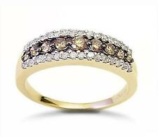 Stunning! 10K Yellow Gold Chocolate Brown & White Diamond Band Ring .50ct