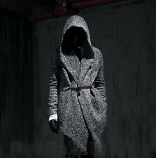 New Mens Korean Personality Hooded Trench Long Fashion Casual Woolen Warm Coats