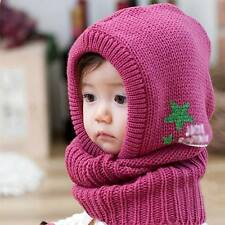 New Winter Baby Kids Boy Girl Warm Hat Hooded Scarf Earflap Knitted Wraps Cap10