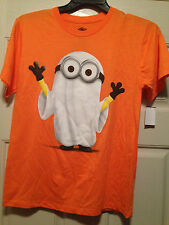 DESPICABLE ME 2 Mens Orange Minion Halloween Ghost Tee T Shirt Small Brand New