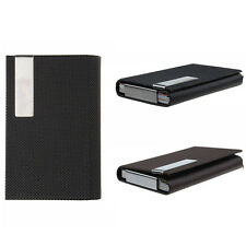 Leather Metal Strip Card Box Business ID Credit Card Box Holder Case Cheap