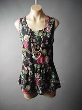 Romantic Necklace Rose Victorian Garden Peplum Top 116 mv Blouse 1XL 2XL 3XL
