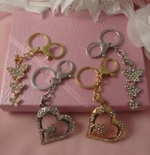 GOLD OR SILVER HEART OR BUTTERFLY PHONE,HANDBAG KEYRING CRYSTAL LARGE CHARM