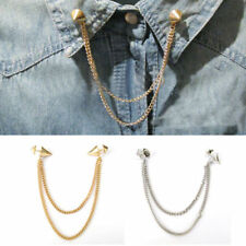 Stud Shirts Collar Neck Tip Brooch Pin Chain Tassels Necklace Punk Gothic Lady