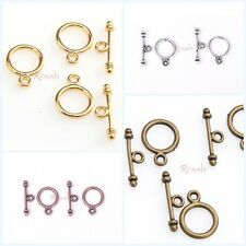 30Sets Zinc Alloy Silver/Golden/Copper/Bronze Tone Round Toggle Clasps For Craft
