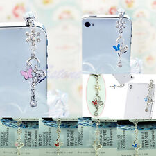 3.5mm Butterfly Crystal Anti Dust Earphone Plug Cap Stopper For iPhone 6 Samsung