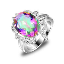 New Design Women's Jewelry Rainbow Colored Topaz Silver Plated Ring Size 7,8,9