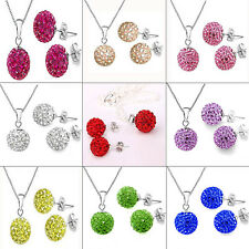 Silver Plated Crystal Disco Ball Chain Stud Earrings Necklace Jewelry Set New