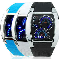 New Flash LED Men RPM Turbo Sports Car Meter Dial Watch Wristwatch Blue